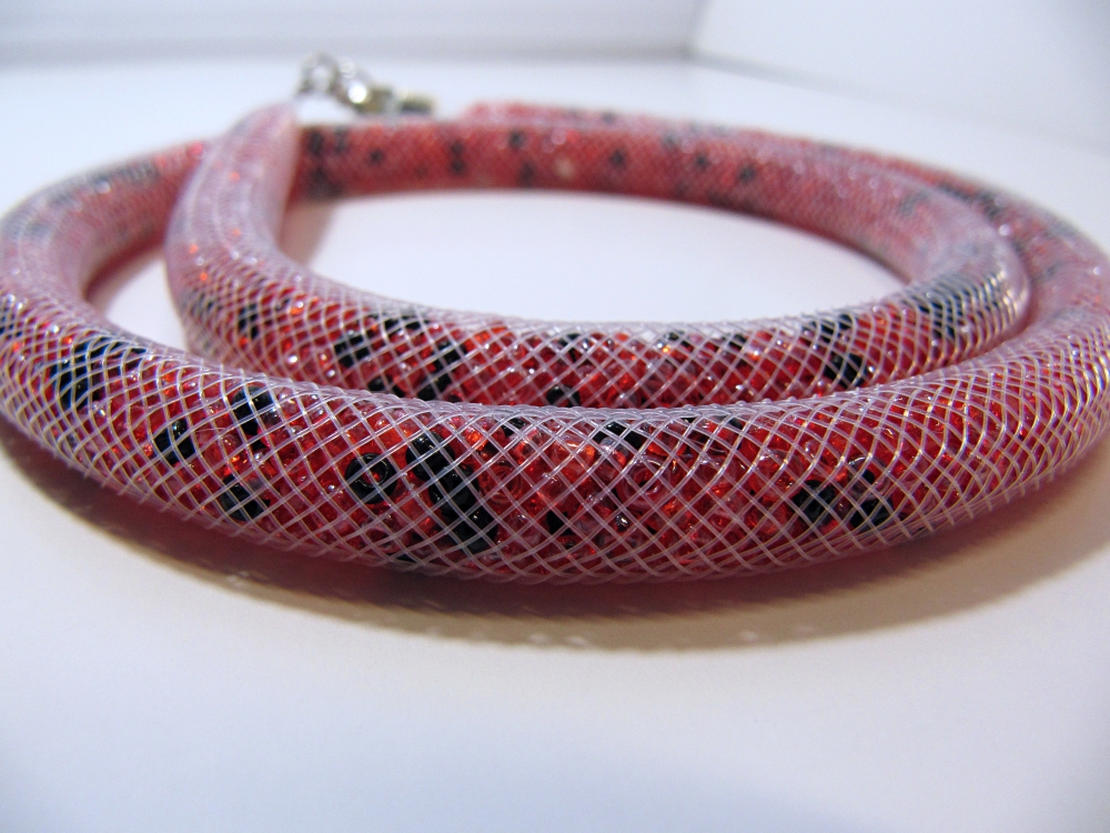"""Beaded rope necklace """"Flame"""" (1) - 1"""