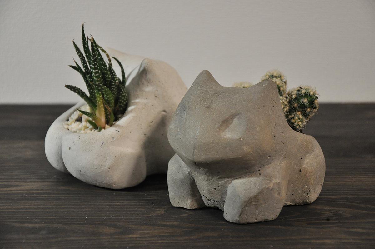 """Concrete vase """"Bulbasaur"""" (1) - 1"""