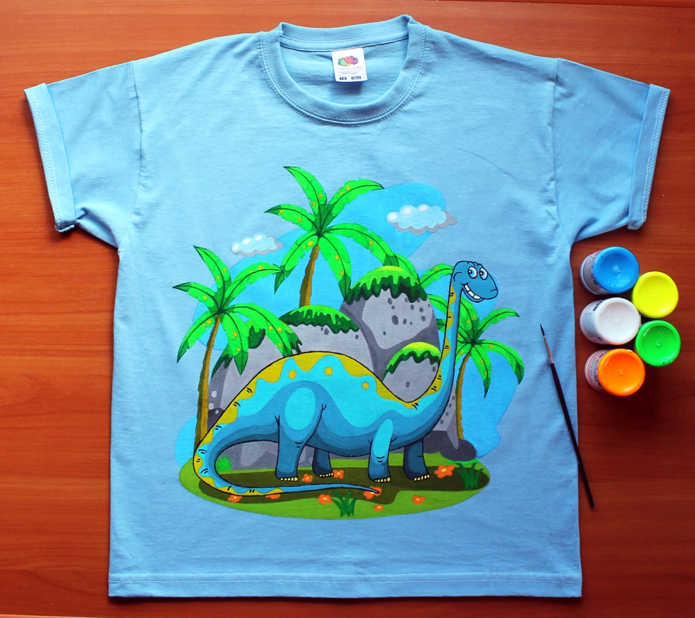 "Hand painted T-shirt for kids ""Dino""(1)  - 562"