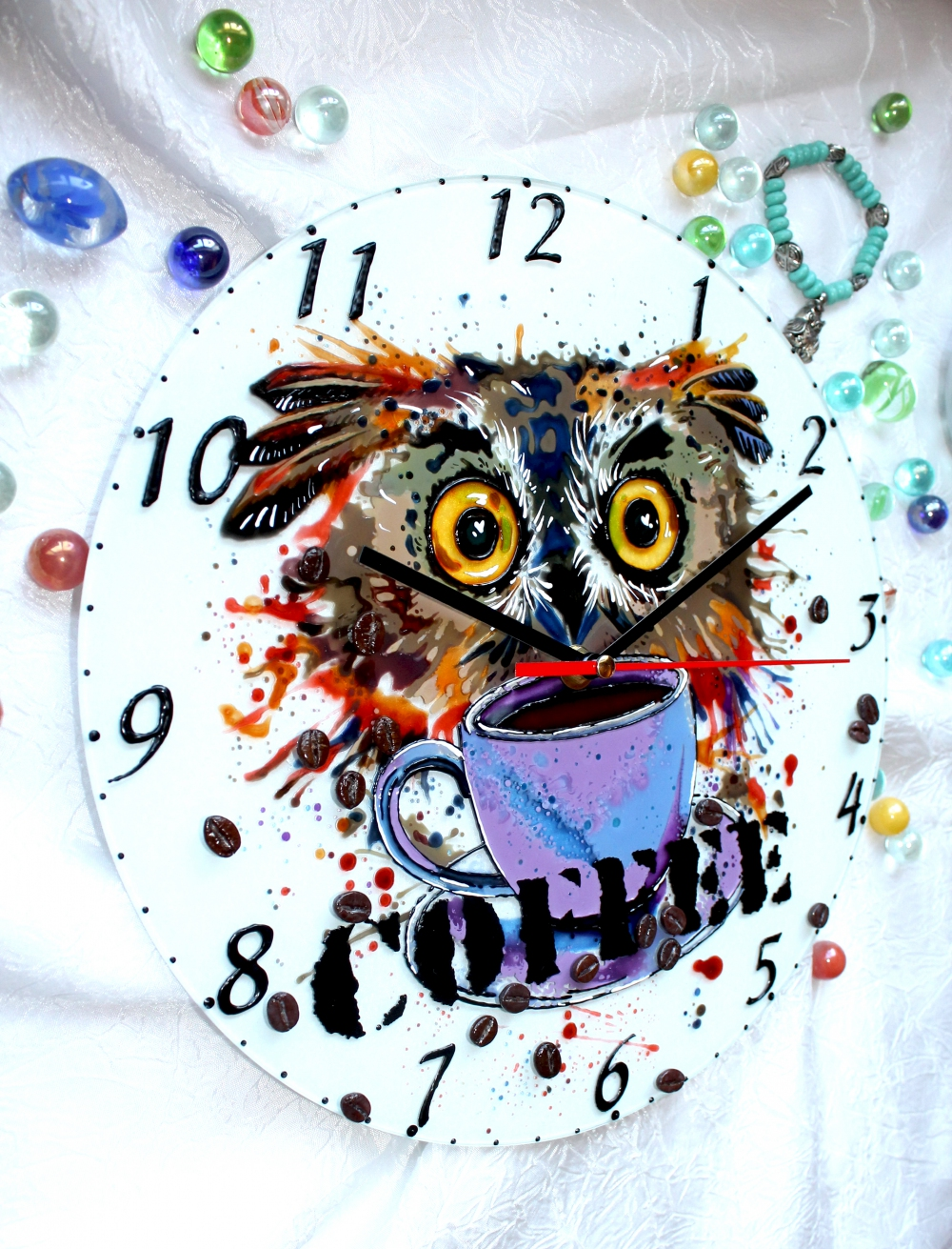"Wall clock ""Coffee nerd"" (25х25) (1) - 590"